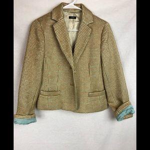 JCrew Metallic Aqua Gold tweed blazer